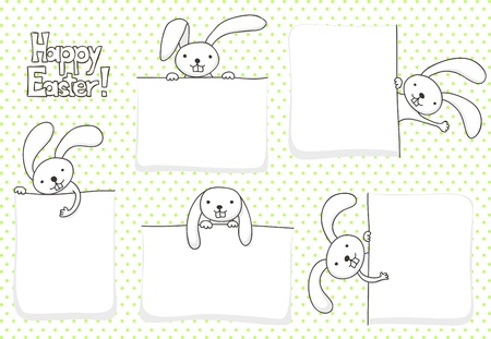 Collection of blank banners with bunnies for Easter Vettoriali