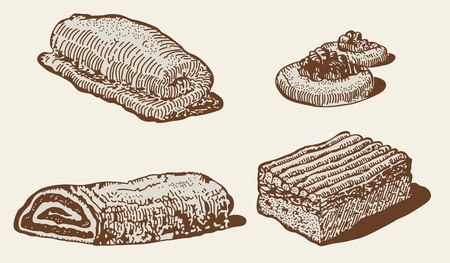 scone: Engraving style pastry set  Illustration