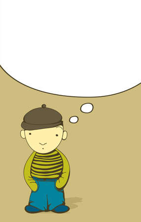 thinking balloon: Cartoon boy with blank thought bubble Illustration