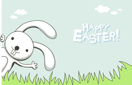 easter bunny: Nette Grußkarte mit Hase zu Ostern Illustration