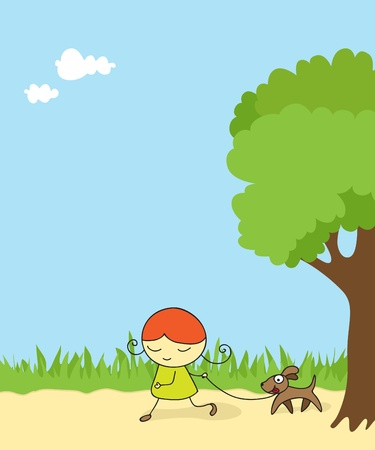 forest cartoon: Girl walking her dog in the park.
