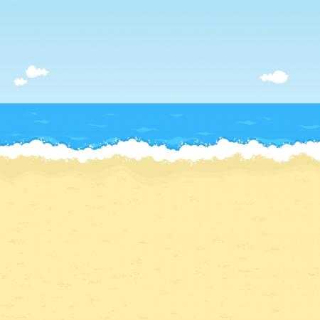 playa caricatura: Ilustraci�n de Mar, con espacio para su mensaje.