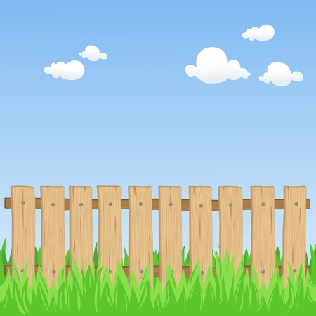 Wooden fence detailed illustration  Grass can be easily removed  Stock Vector - 13028203