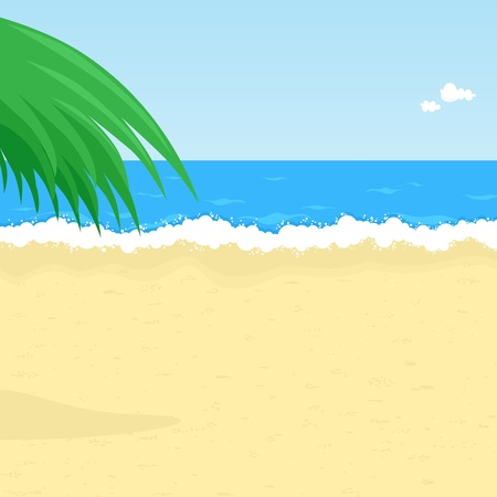 Illustration of seaside with palm tree Vector
