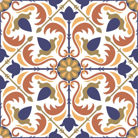 continuous: colorful Arabic style tiles - seamless pattern  Illustration