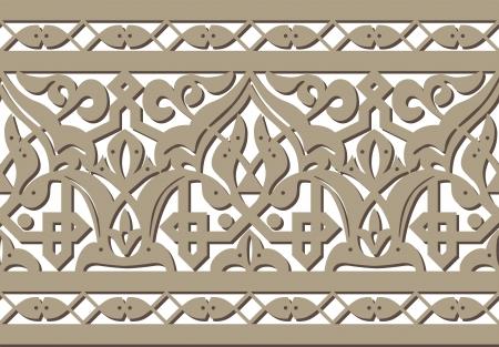 carved: Horizontal seamless Arabic style pattern Illustration