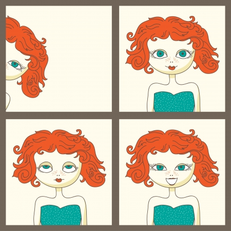 pictures of a cute red-haired girl Vector