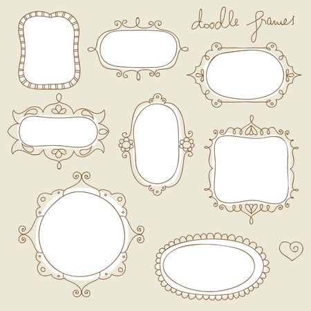 vintage background pattern: collection of hand drawn doodle frames