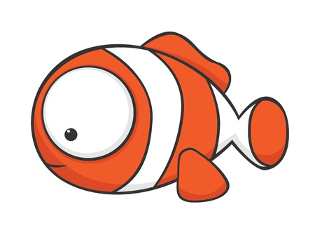 Cute cartoon clownfish with huge eyes Çizim