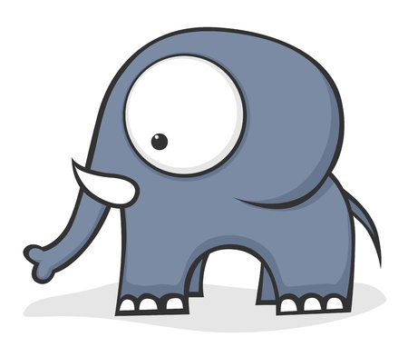 Cute cartoon baby elephant with huge eyes