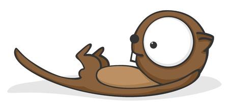nutria caricatura: Lindo y divertido dibujo animado de nutria con los ojos enormes.