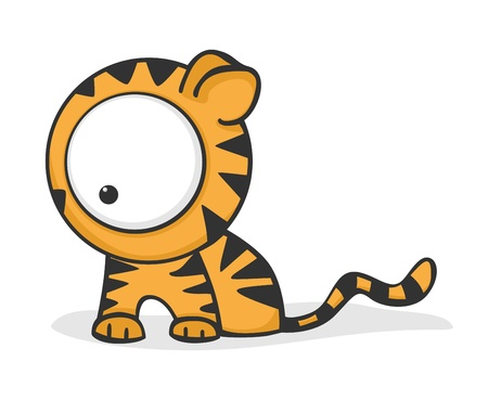 Cute and funny cartoon tiger with huge eyes.
