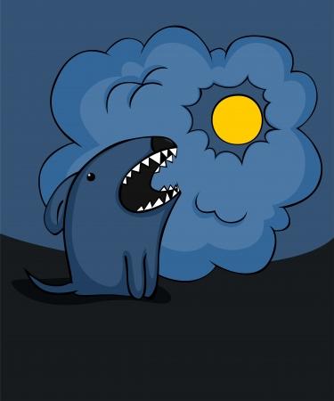 barking: Cane da cartone animato Spooky abbaiare alla luna.