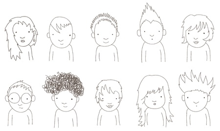 Doodle portrait of kids Vector