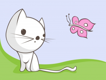 furry tail: Cute cartoon cat with butterfly