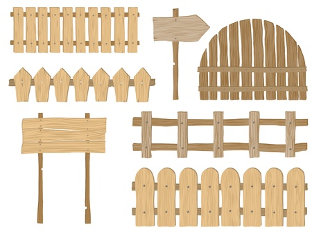 wood fence: Set of wooden fences and signs Illustration