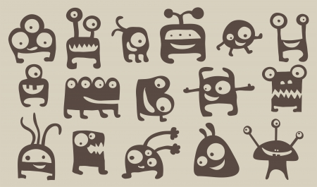 Collection of 15 cute monsters Vector