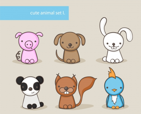 Collection of cute animals Vector