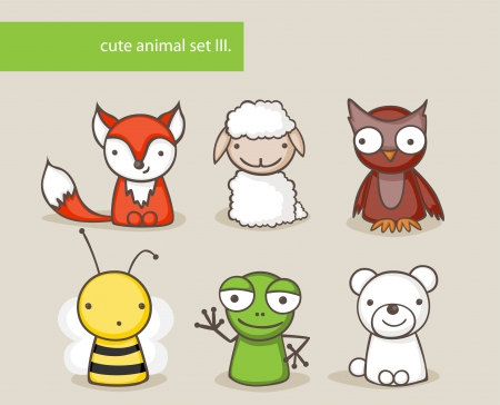 owl cartoon: Collection of cute cartoon animals Illustration