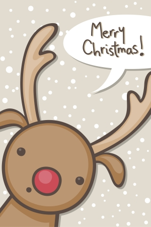 Christmas card with cartoon reindeer Vector