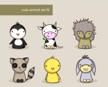 cartoon raccoon: Collection of cute animals