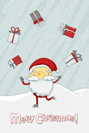 Skating Santa Claus juggling with gift-boxes Vector