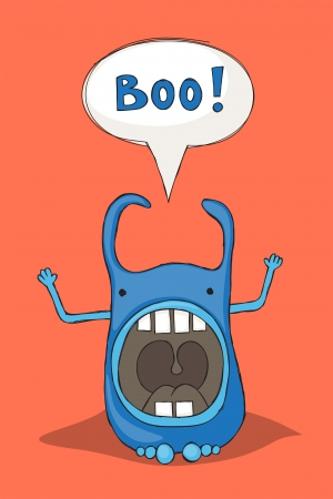 scaring: Sketchy cartoon monster scaring and saying boo!