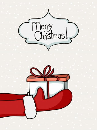 handing: Cartoon of Santa Claus hands with gift box.