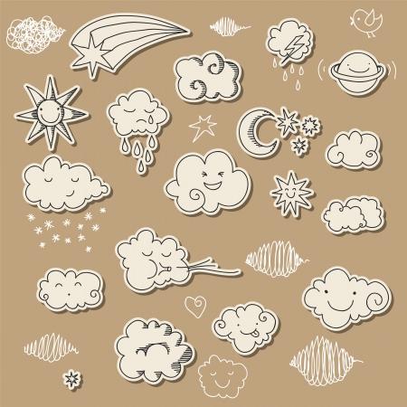 estrella caricatura: Cielo cuco y elementos relacionados con el clima para su diseño. Vectores