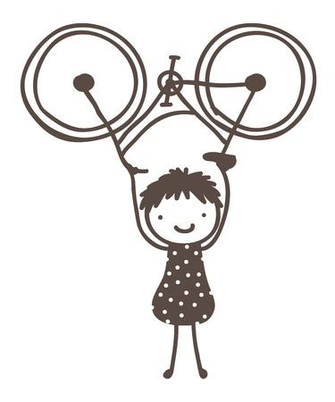 Doodle d'une jeune fille soulevant son vélo sur la tête Banque d'images - 16996634