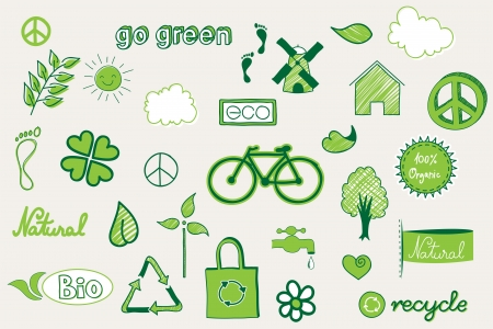 recycle bag: green, environment related doodle elements Illustration