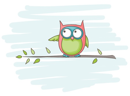 owl eye: Cartoon of an owl sitting on a branch