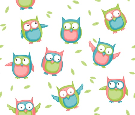 Seamless pattern with colorful cartoon owls and leaves