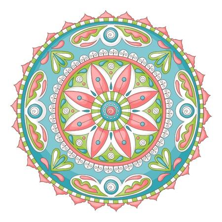 曼陀羅: 詳細なカラフルな手描きの落書きマンダラ