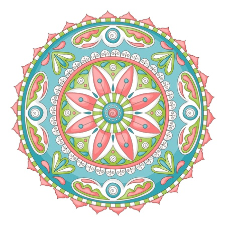 Detailed, colorful hand-drawn doodle mandala Vector