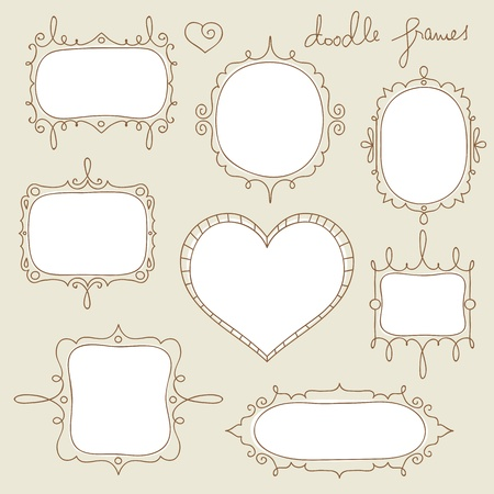 simple border: collection of hand drawn doodle frames