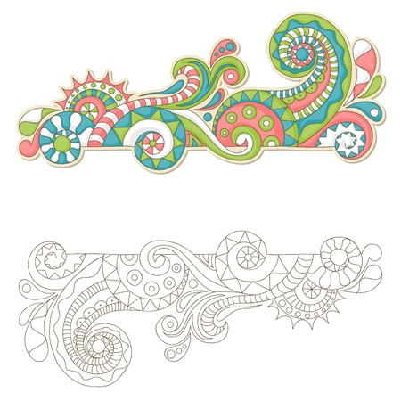 flowerpower: Colorful doodle frame with outline version