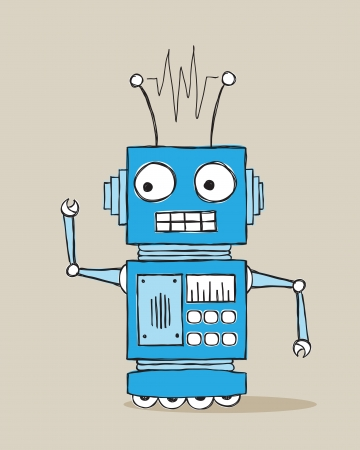 Handdrawn doodle of a retro robot Vector