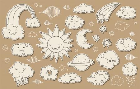 sol y luna: Cielo cuco y elementos relacionados con el clima para su diseño. Vectores