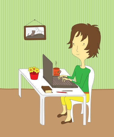 Cartoon girl sitting at her desk, working on a laptop. Vector