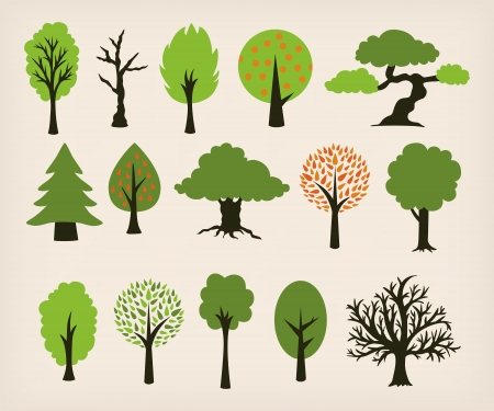 winter stylized: Collection of different trees cartoon