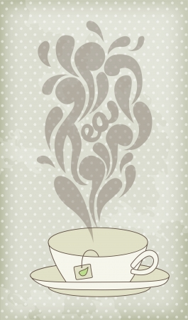 Steaming hot tea on vintage background Vector
