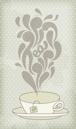teacups: Steaming hot tea on vintage background Illustration