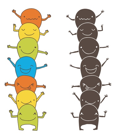 Cute and happy cartoon monsters, color and monochrome version. Stock Vector - 18387607