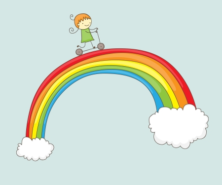 rainbow clouds: Cartoon girl riding her push scooter on a rainbow