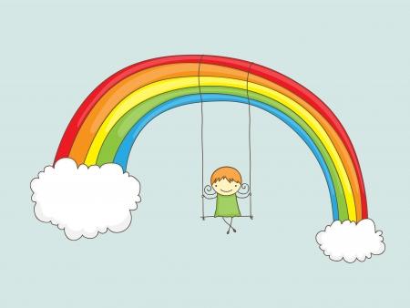 oyun zamanı: Bir gökkuşağı üzerinde sallanan karikatür kız Çizim