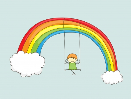 rainbow clouds: Cartoon girl swinging on a rainbow