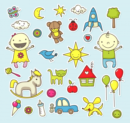 Cute cartoon stickers with toys and other baby related elements. Vector