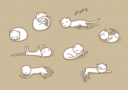 Cute white doodle cats sleeping in various positions
