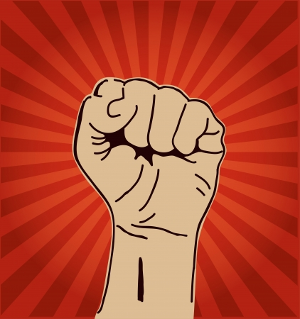 indignation: A clenched fist held high in protest or solidarity. Illustration